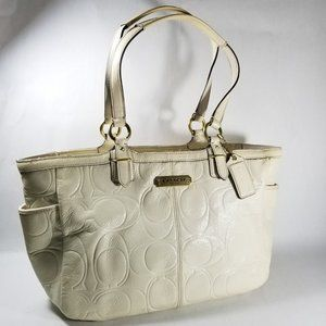 Coach Ivory Crinkle Patent Leather Monogram Bag